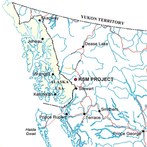 The KSM Prospect is inland from Southeast Alaska. (Courtesy SEACC)