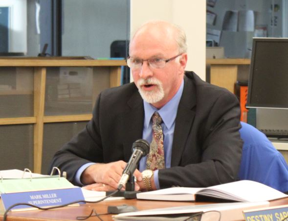 At Tuesday night's school board meeting, new superintendent Mark Miller says attorney John Sedor will talk to students and staff during the investigation. (Photo by Lisa Phu/KTOO)