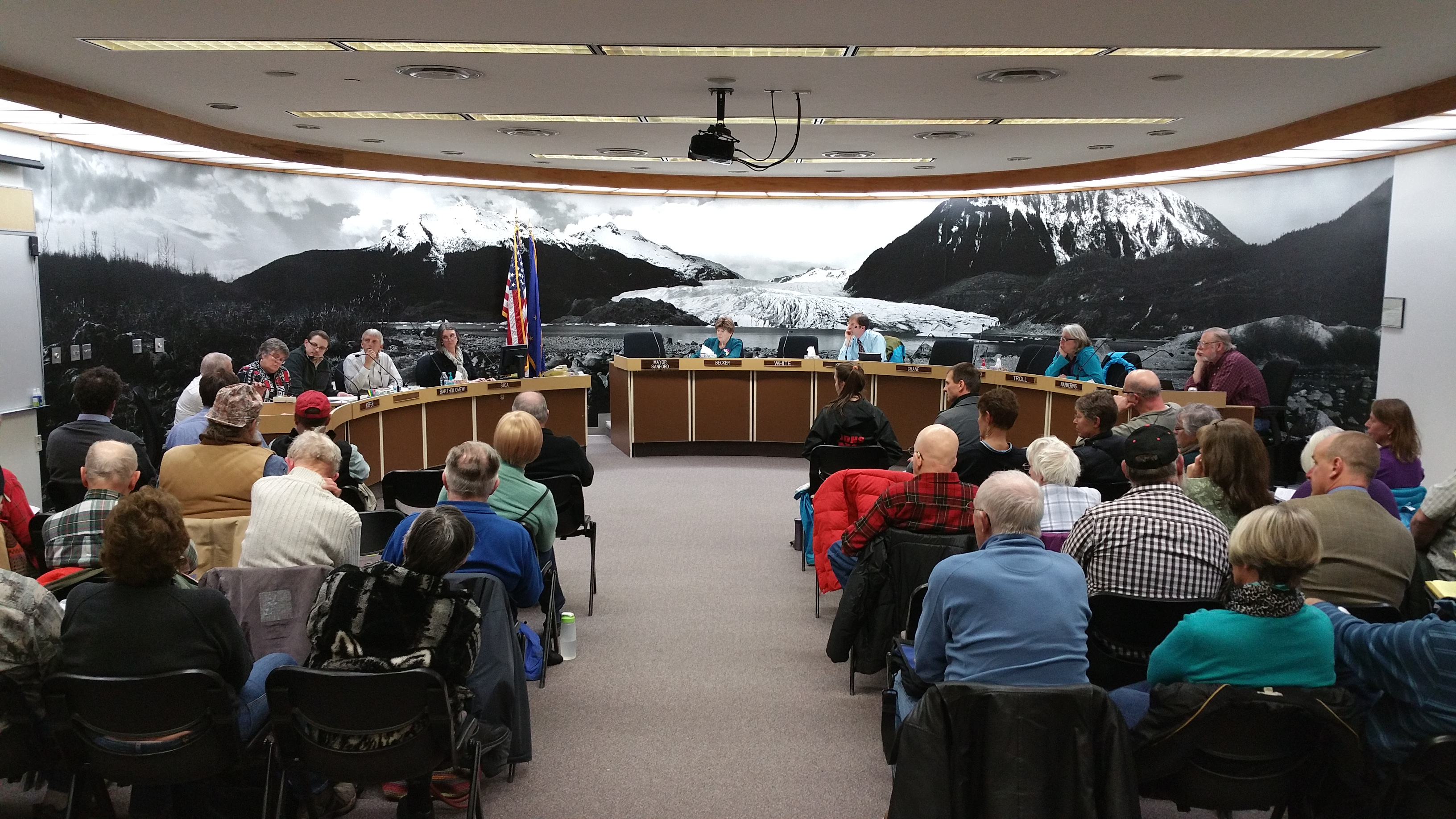 The assembly hears testimony from Juneau residents on the senior sales tax exemption Thursday night. (Jennifer Canfield/KTOO)