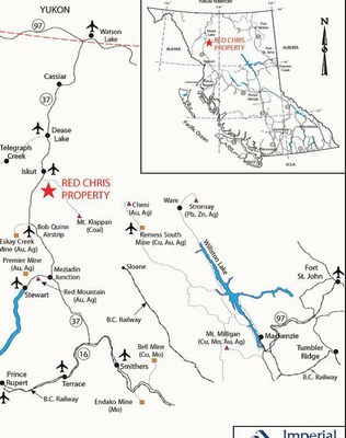 The Red Chris is near the Iskut River, which drains into the Stikine River. (Courtesy Imperial Metals website)
