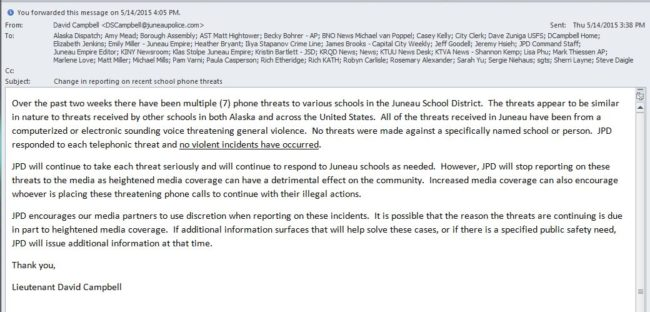 Email from Lt. David Campbell saying that JPD will no longer inform media of threatening phone calls made to schools.