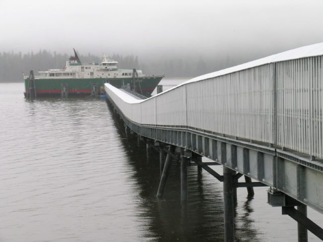 An Inter-Island Ferry Authority ship docks at the South Mitkof Ferry Terminal in 2007, when regular sailings took place. (Creative Commons photo by Ryan McFarland)