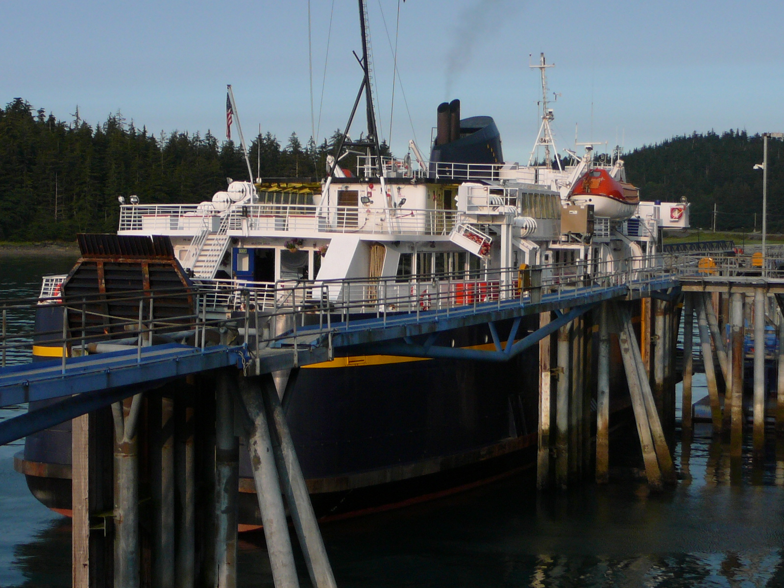 The state ferry LeConte docks in Auke Bay. Its summer sailings from Mitkof Island to Prince of Wales Island have been canceled. (Photo by Ed Schoenfeld/CoastAlaska News)