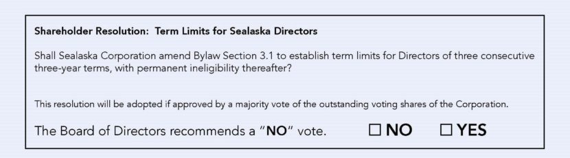 A resolution calling for term limits is before Sealaska's 22,000 shareholders.