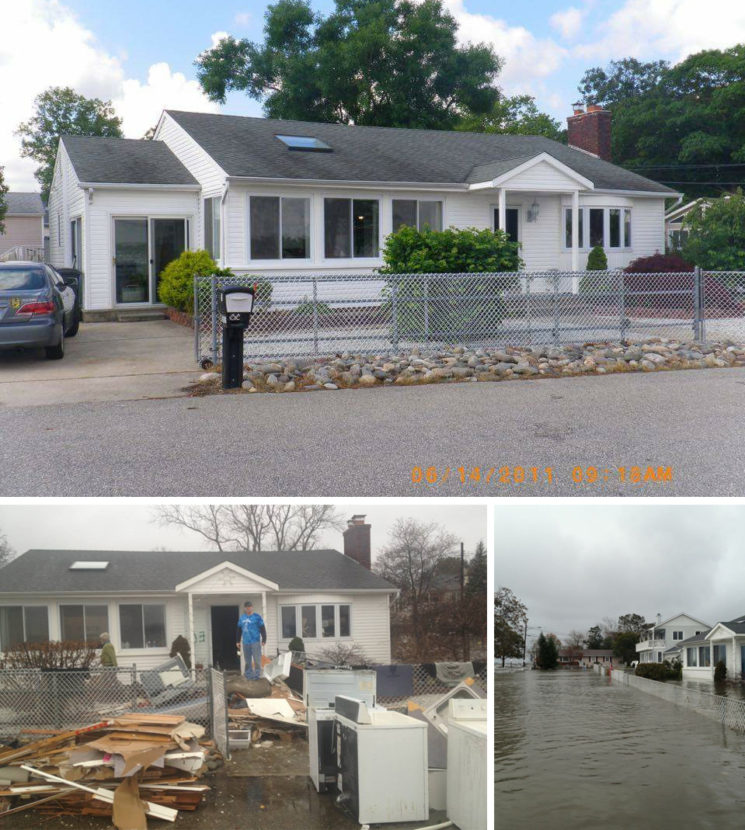 Top: Doug Quinn's home in 2011. Left: Damaged materials from inside Quinn's home in January 2013. Right: Water flooded Quinn's street the day after Superstorm Sandy. Courtesy of Doug Quinn