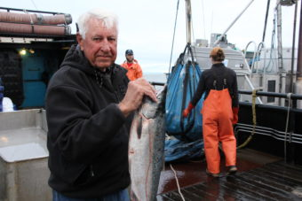 Skipper Howard Knutsen, 86, delivered Bristol Bay's two billionth salmon to the F/V Lady Helen in Ugashik. One of his salmon made it's way to the Governor. (Photo by KDLG)
