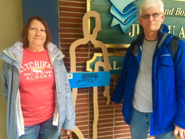Sherry and Eddie Snell are visiting Juneau from Florida. Eddie is active in his community's efforts to address homelessness. (Photo by Scott Burton/KTOO)