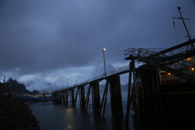 The ferry docks at Auke Bay Ferry Terminal in Juneau. (Photo by Elissa Nadworny/NPR)