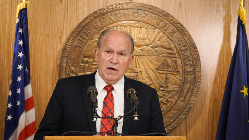 Alaska Gov. Bill Walker discusses a compromise budget package with reporters in the cabinet room of the Capitol in Juneau on June 6, 2017. (Photo by Jeremy Hsieh/KTOO)