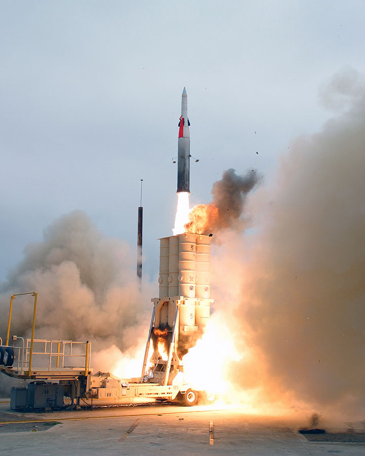 An Arrow anti-ballistic missile launches from California in 2004 test. (Photo by U.S. Navy)