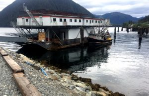 Formerly a heli-logging operation from Dall Island, the Northline barge gets a retrofit in Sitka. The topmost structure — once a helipad — will be used for net storage.