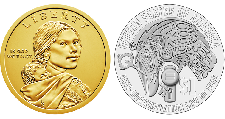 "The 2020 Sacagawea dollar coin design will feature one of two designs on the ""tails"" or reverse side: A raven unlocking a door (pictured above) or a picture of Elizabeth Peratrovich featuring her Tlingit Raven clan moiety. (Image courtesy U.S. Mint)"