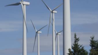 Kodiak generates about 20 percent of its electricity from wind. The Kodiak Electric Association has installed six turbines on Pillar Mountain since 2009. (Photo by Eric Keto/Alaska's Energy Desk)