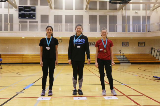 Female Kneel Jump Middle School Division winners Trinity Jackson, Kalila Arreola, and Skylar Tuckwood at the 2018 Traditional Games. The contest was sponsored by Sealaska Heritage, Central Council of Tlingit and Haida Indian Tribes of Alaska and Wooch.Een in collaboration with Goldbelt Heritage. (Photo by Annie Bartholomew/KTOO)