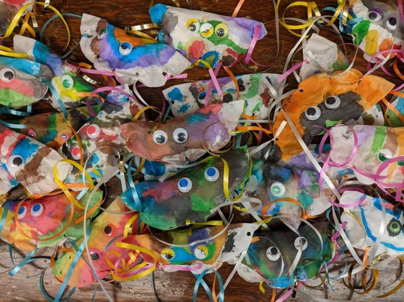 Children made these jellyfish out of coffee filters, streamers and googly eyes at Harborview Elementary School during a 2018 kindergarten boot camp.