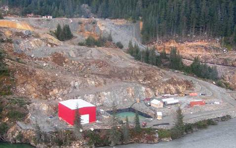 Water treatment plant at Tulsequah. It operated for a few months to treat acid rock drainage, but Chieftain shut it down due to the high costs.  Photo courtesy Chieftain Metals.