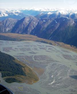 The braided channels of the lower Taku River, east of Juneau. (Photo courtesy Alaska Department of Fish and Game)