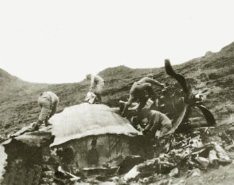 Japanese soldiers at B-24 wreck site.