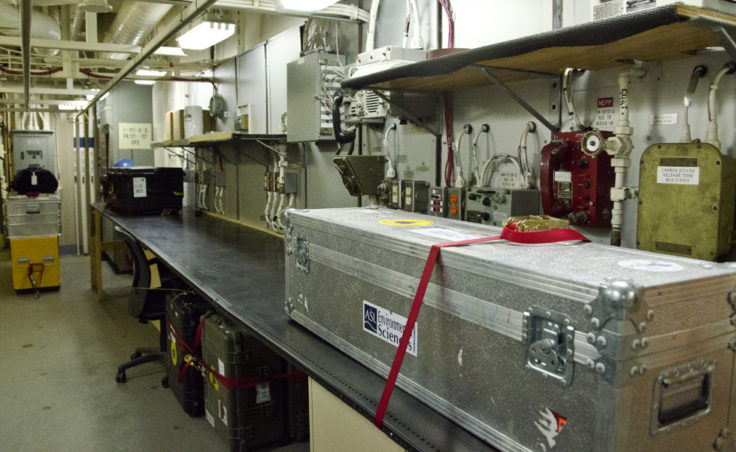 Equipment sits in the science lab.