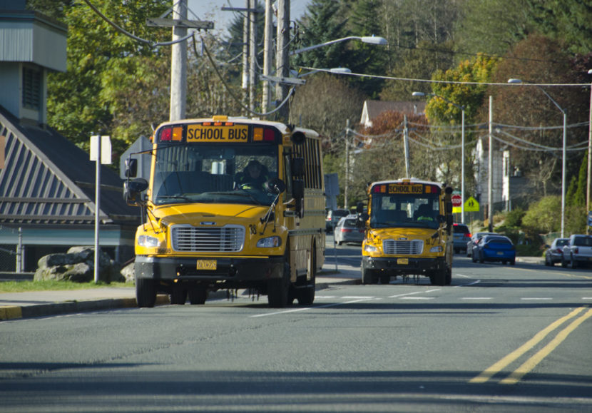School buses line up to pick up students near Juneau-Douglas High School in 2012.