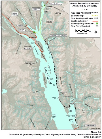 DOT's preferred alternative would extend Glacier Highway about 50 miles to a ferry terminal at the Katzehin River.  Map courtesy Alaska Department of Transportation and Public Facilities.