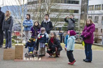 Approximately 120 people attended the rally. (Photo by Heather Bryant/KTOO)