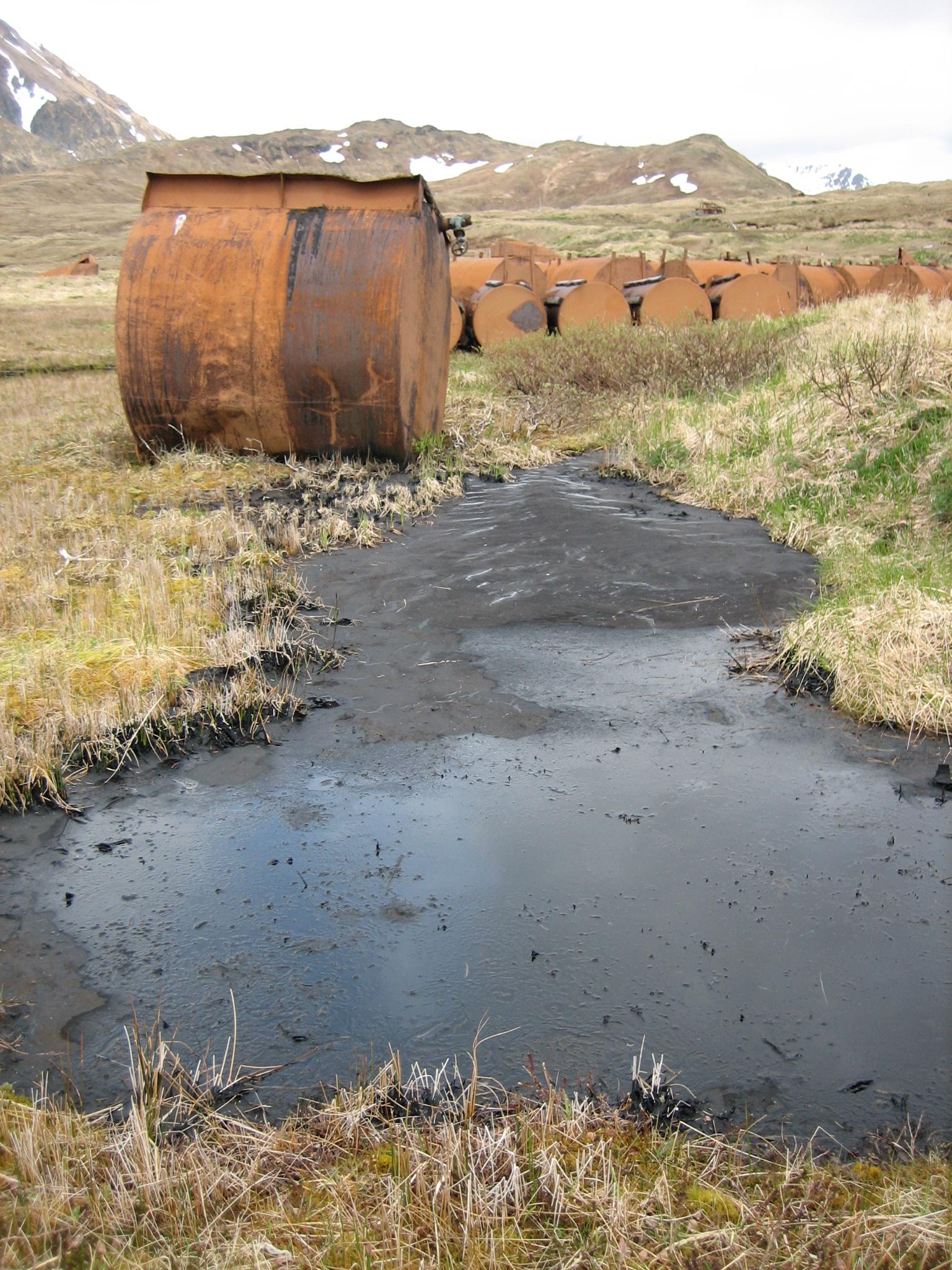 A fuel tank spill.