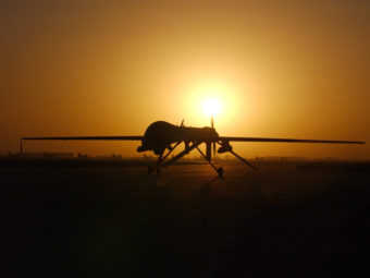 A Predator drone taxis in after a sortie over Iraq in 2004. U.S. Air Force/Getty Images
