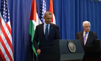 President Barack Obama arives for a joint press conference with Palestinian president Mahmoud Abbas at the Muqataa, the Palestinian Authority headquarters, in the West Bank city of Ramallah. Mandel Ngan /AFP/Getty Images
