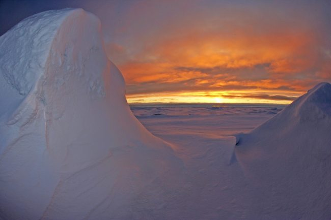 Arctic ice sunset.