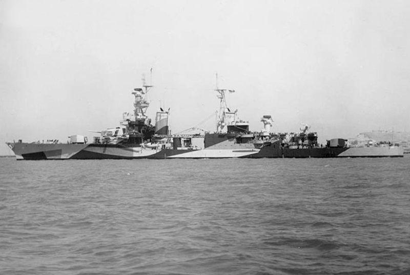 The U.S. Navy heavy cruiser USS Portland (CA-33) off the Mare Island Navy Yard, California (USA), 30 July 1944.