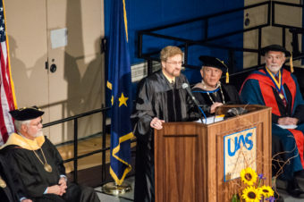Former KTOO General Manager Charles Northrip was the commencement speaker.
