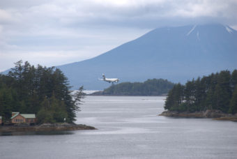 An Alaska 737-800 on approach to the Sitka Airport.