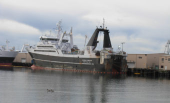The Ocean Rover is tied up in port in Seattle on Jan. 1, 2008. It's one of six American Seafoods Co. factory trawlers.