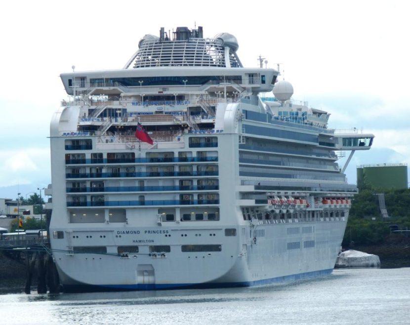 The Diamond Princess cruise ship ties up in Juneau's Gastineau Channel. (KTOO file photo)