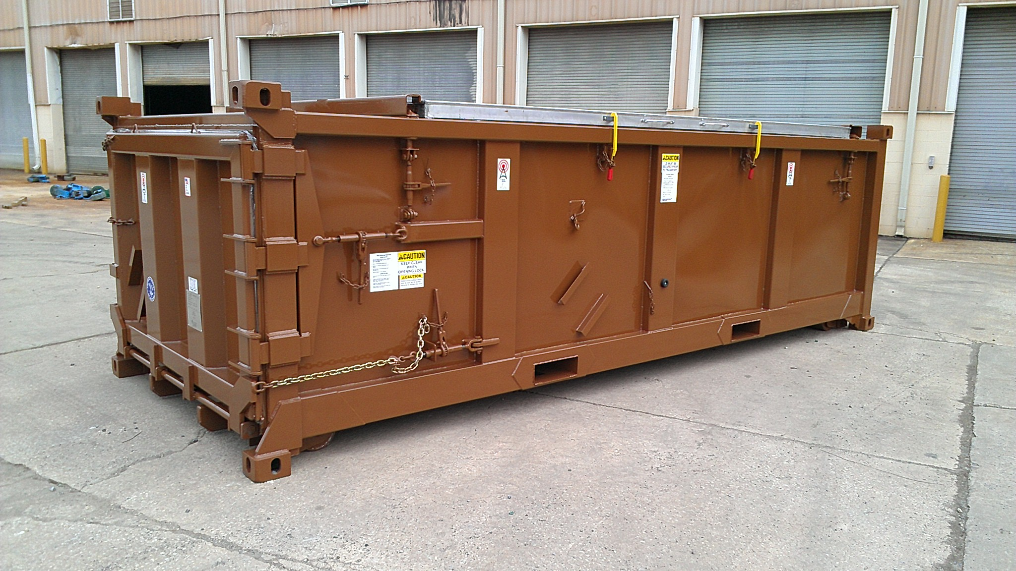 One of the city's five watertight shipping containers it purchased last year. The city is buying 40 more to transport sewage sludge. They cost about $20,000 each. (Photo courtesy CBJ Public Works Department)