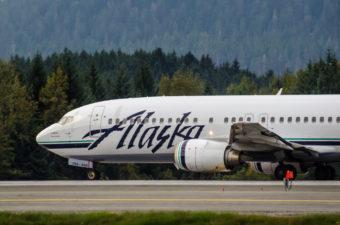 An Alaska Airlines plane at Juneau International Airport.