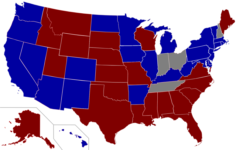 United States map indicating which states are expanding Medicaid coverage in 2014. Blue indicates states which are expanding Medicaid, red indicates states which are not, and gray indicates states that are still debating expansion as of July 2013. (Wikipedia Commons)