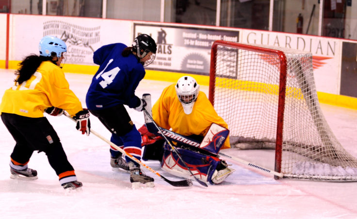 Christy Hartman trails closely behind Jessie Kovach, who comes crashing down on goalie Lucy Domingez during the 10th Annual Jamboree women's hockey tournament at Treadwell Ice Arena.