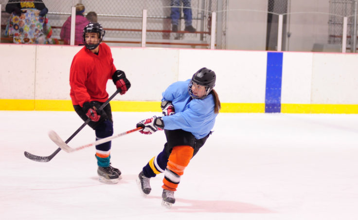 Laine Durgin releases a quick shot during the 10th Annual Jamboree women's hockey tournament at Treadwell Ice Arena.