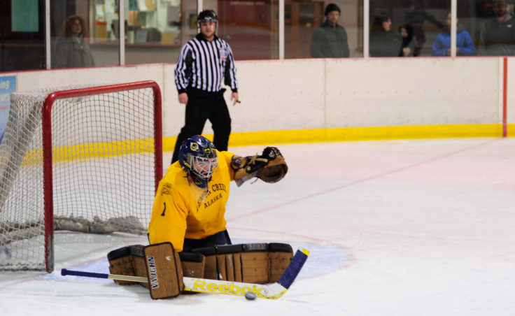 Jason Soza turns back one of 29 shots in Lemon Creek's 40-and-over Tier title game versus Good Hardware. That was the most saves by a goalie in a title game, but Good Hardware prevailed, 3-0.