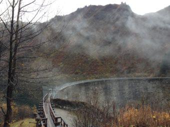 The Salmon Creek Reservoir dam. (Photo by Lisa Phu/KTOO)