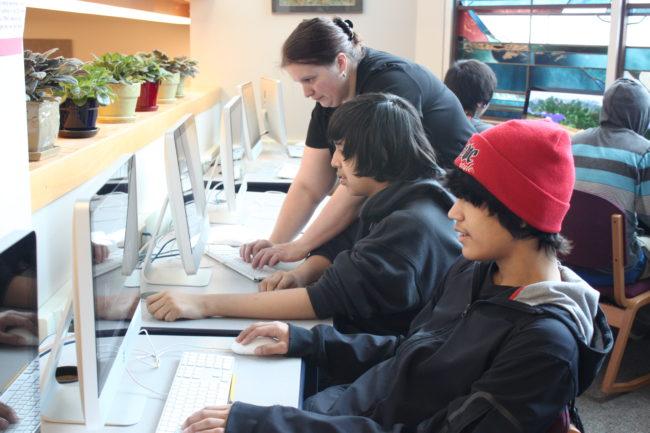 High school teacher Lexie Razor uses Minecraft to teach math. (Photo by Lisa Phu/KTOO)