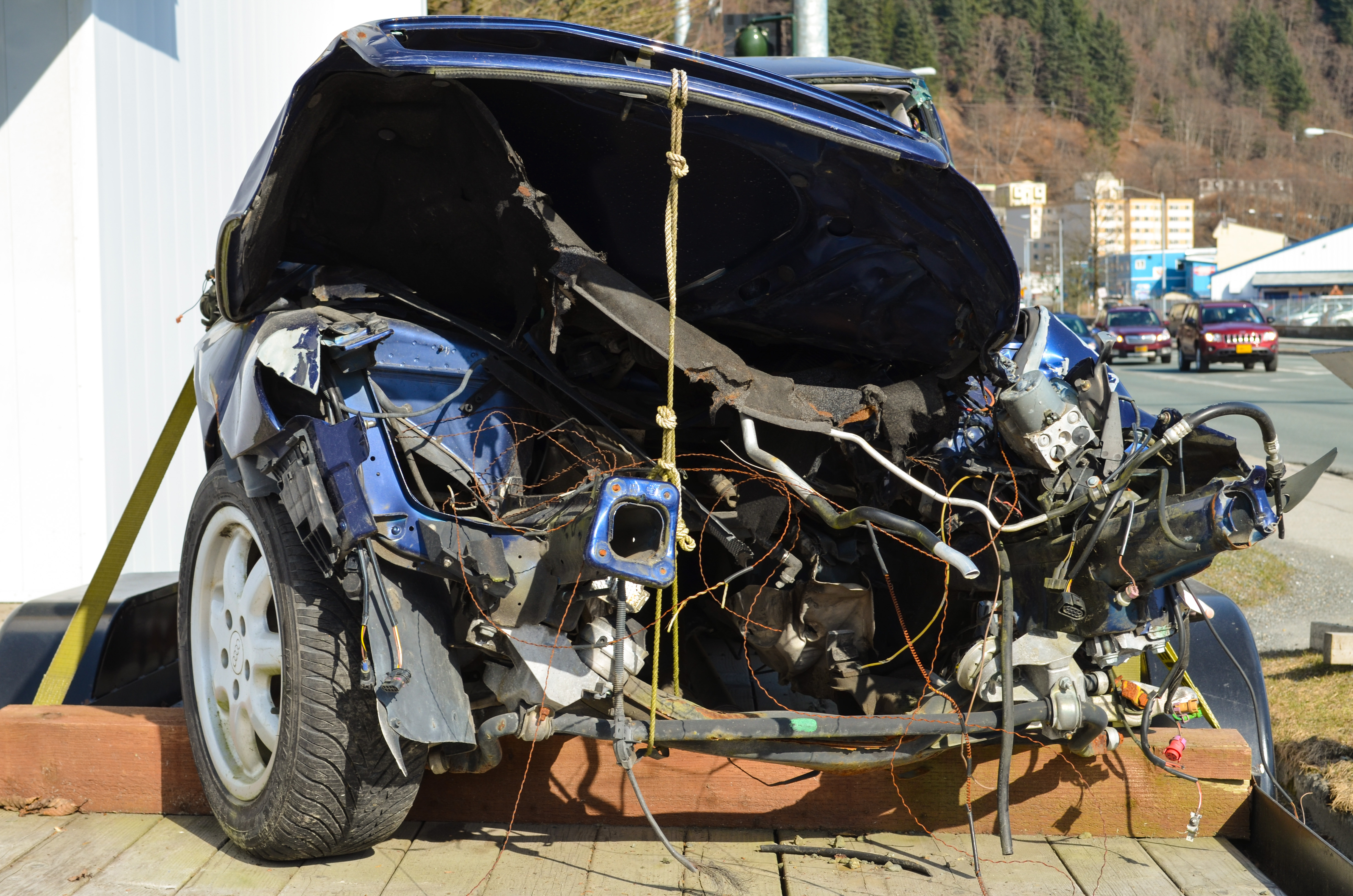 The 1999 Audi was driven by Tyler Emerson in the drunk driving accident that killed Taylor White. (Sarah Yu/ KTOO)