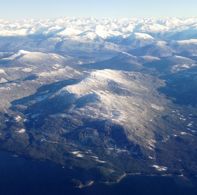 The remains of a Tongass clear-cut and logging road north of Ketchikan, pictured here in 2014, are visible from the air.