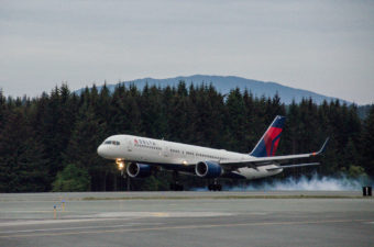 Delta's first flight of the summer season touched down in Juneau at 8:49 p.m. May 30 with 120 passengers from Seattle. (Photo by Heather Bryant/KTOO)