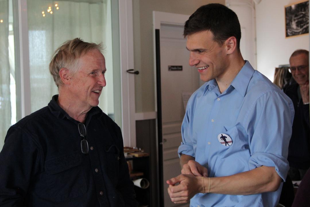 Democrat Forrest Dunbar campaigned in Sitka on August 7, 2014. (Photo by Rachel Waldholz/KCAW)