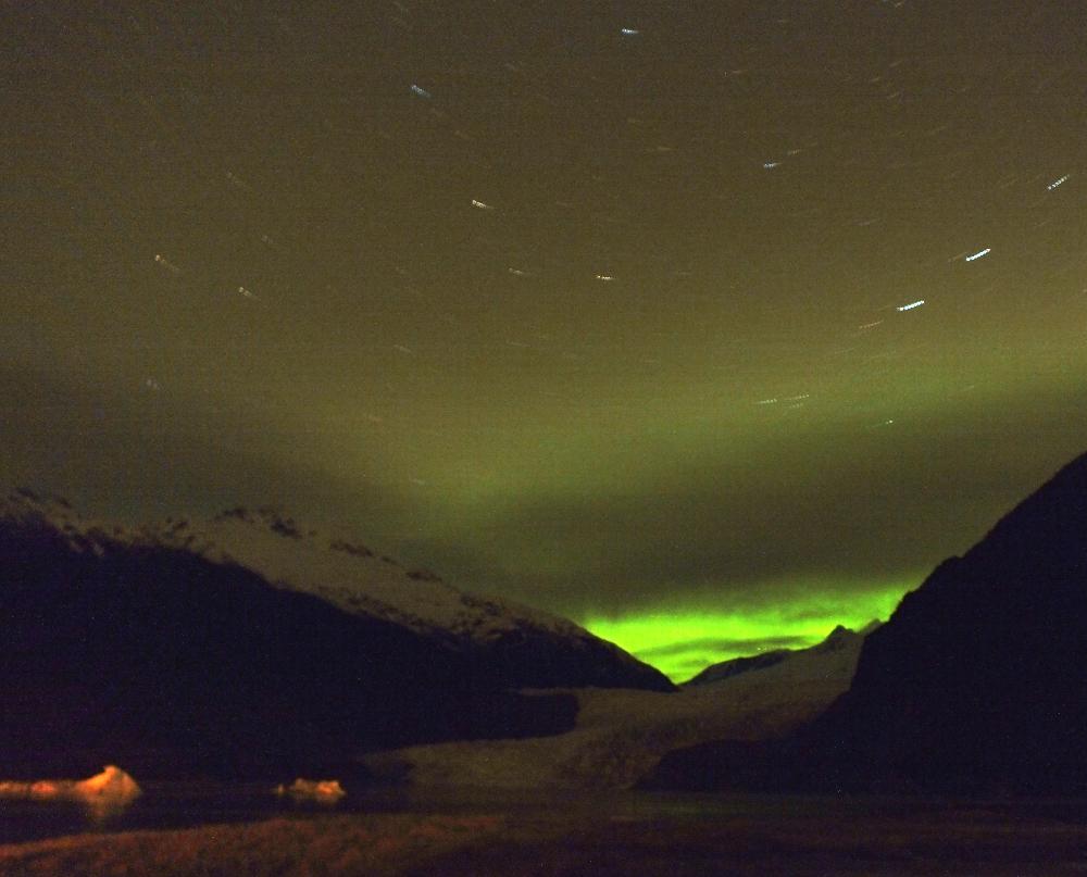 Mendenhall Glacier and aurora