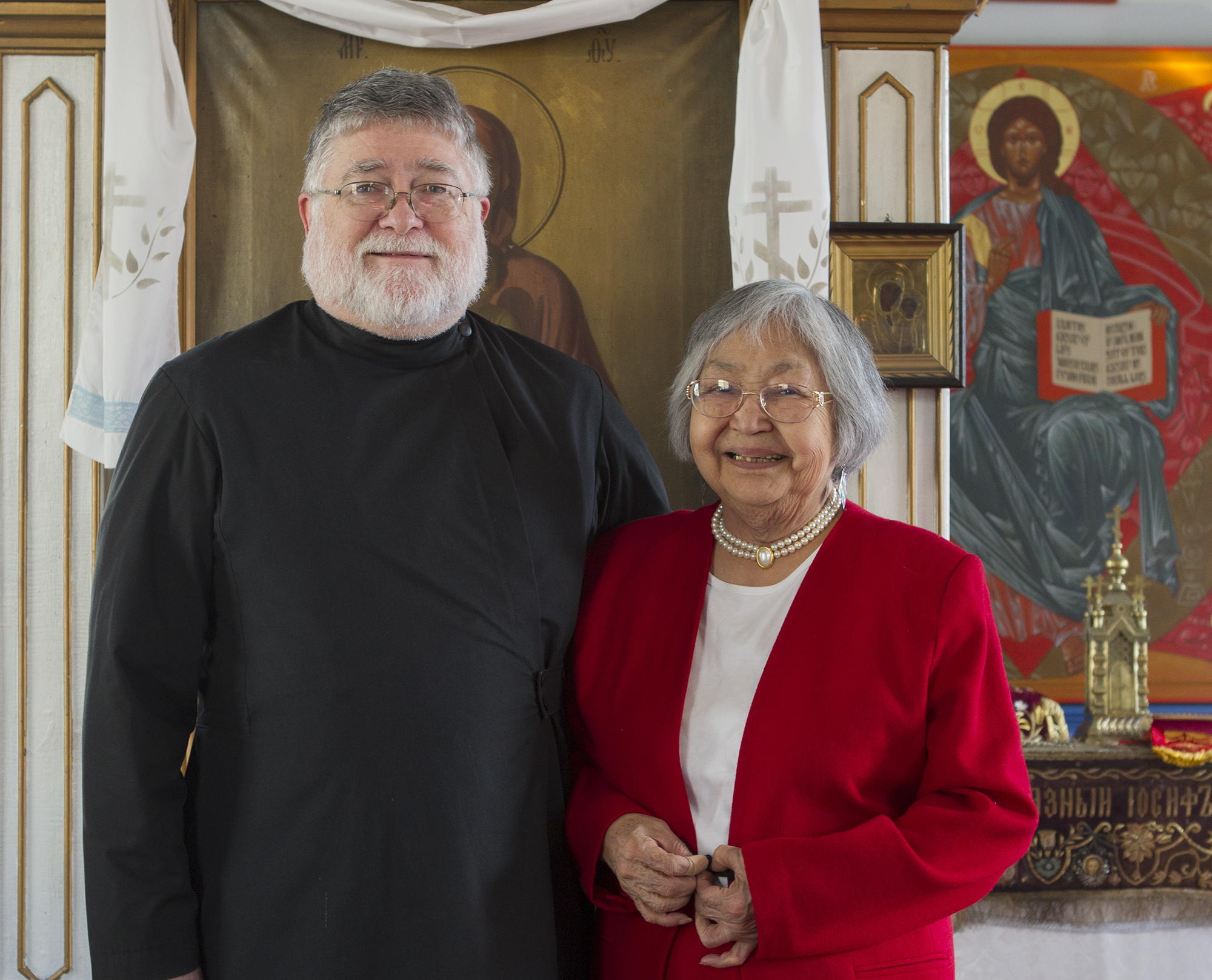 Dick and Nora Dauenhauer at St. Nicholas Russian Orthodox Church on April 24, 2011. (Photo by Brian Wallace)