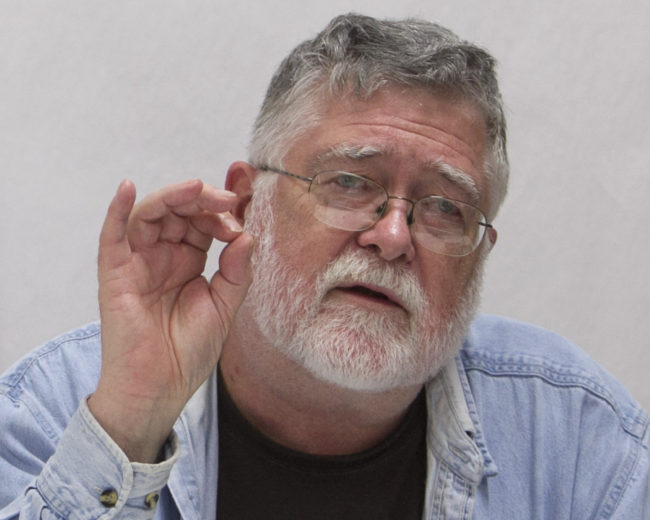 Richard Dauenhauer gave a lecture during Celebration 2014.  (Photo by Brian Wallace/Sealaska Heritage Institute)